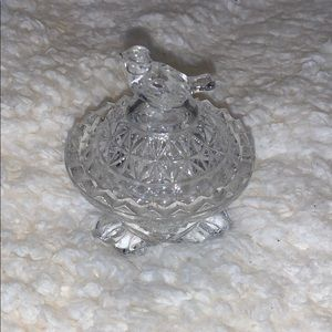 Adorable Lead Crystal Birdie Trinket Box